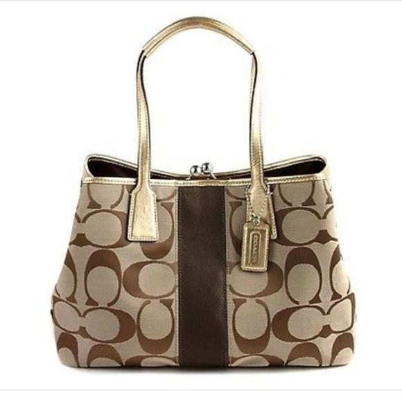 Coach Handbags - Coach Signature Stripe Frame Handbag